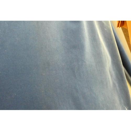 21 - CURTAINS, a pair, blue velvet, lined, 198cm W x 225cm drop. (2)