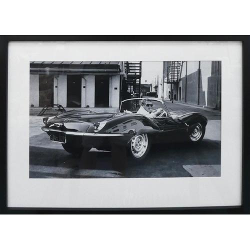 15 - AFTER BEN DUNBAR-BRUNTON, Steve McQueen in Jaguar XKSS, 83.5cm x 63.5cm.