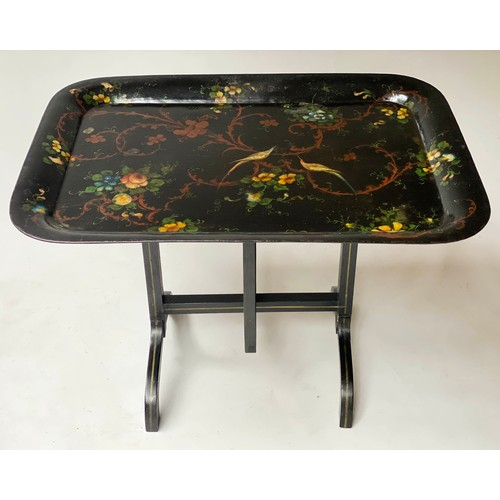 TOLEWARE TRAY ON STAND, 76cm x 46cm x 64cm H, 19th century rounded rectangular black lacquered and painted fruit and exotic birds on later folding stand.