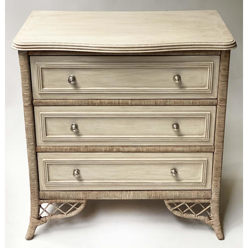 LEXINGTON CHEST, painted, three drawers with cane and wicker panelling, 88cm x 49cm x 82cm H.