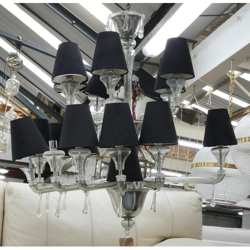 CHANDELIER, two tier glass with black shades approx 125cm H x 95cm. (with faults)