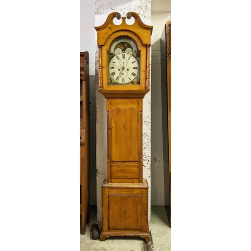 LONGCASE CLOCK, 50cm x 217cm H Georgian and later pine by G Lawrence of Keith, eight day moon phase movement.
