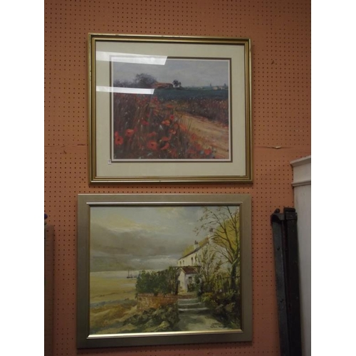 42A - Peter Monks, framed oil painting - estuary scene, and a colour print. (2)...