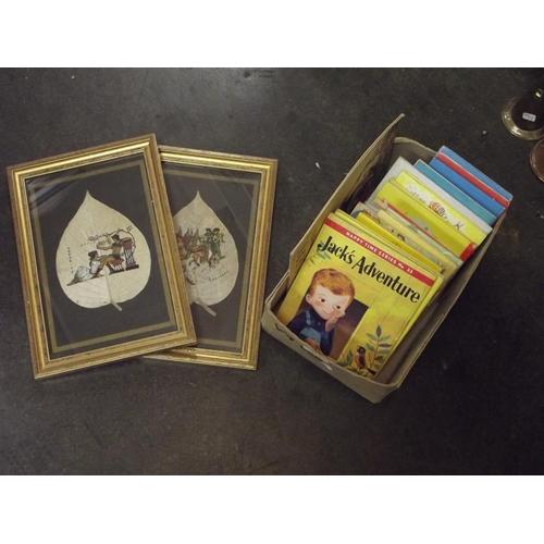 48 - Two Papyrus pictures, vintage children's albums, etc....