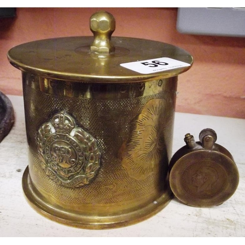 56 - Trench Art - shell case tobacco jar with Royal Engineers badge, and a cigarette lighter....