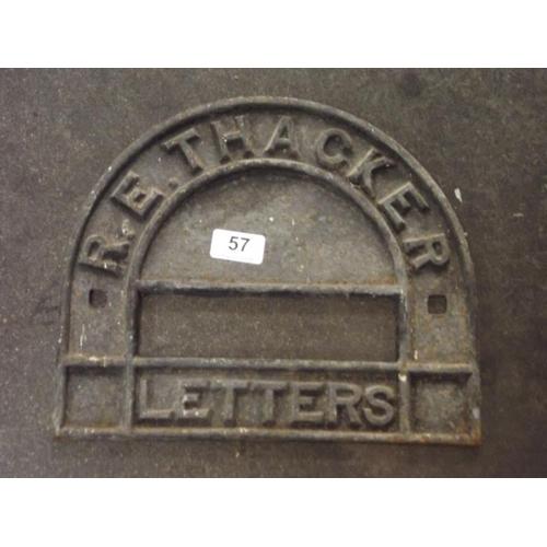 57 - Antique cast iron letterbox surround - R. E. Thacker Letters....