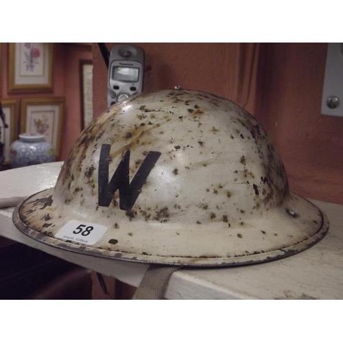58 - WWII steel helmet, W....