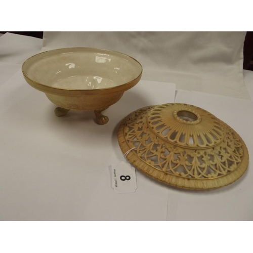 8 - Royal Worcester blush ivory potpourri with reticulated cover, moulded decoration, on three paw feet,...