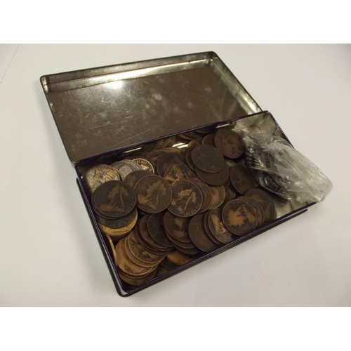 11 - Collection of largely Victorian Pennies and Elizabeth II Sixpences in a Cadburys New Factory at More...