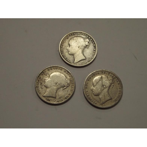 13 - Three silver Victorian Shillings dated 1856, 1859, and 1875....