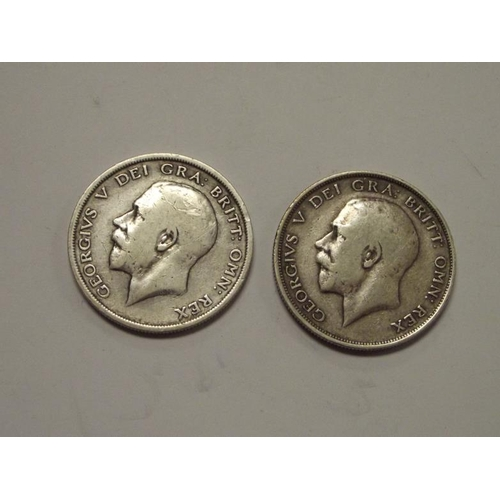15 - Two silver George V Half-Crowns dated 1914 and 1915....
