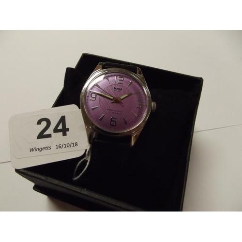 24 - HMT Pilot gents wristwatch, stainless steel case, purple dial, on black leather strap....