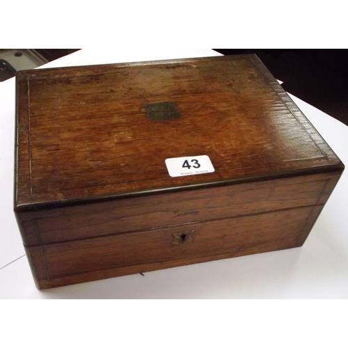 43 - Victorian rosewood trinket box with fitted interior....