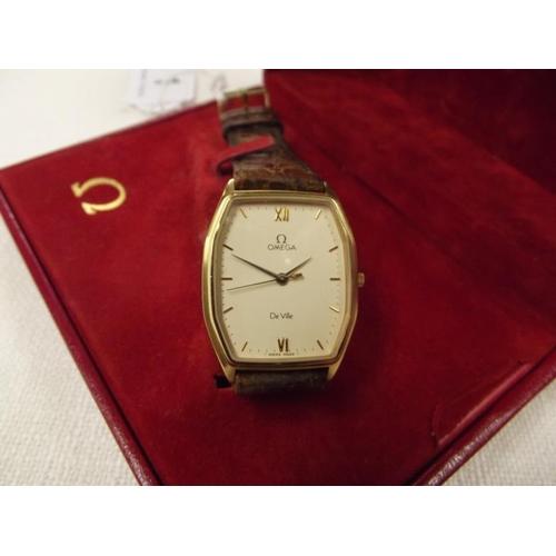 1 - Omega De Ville gents wristwatch, gold plated tonneau case, quartz movement, champagne dial with gold...