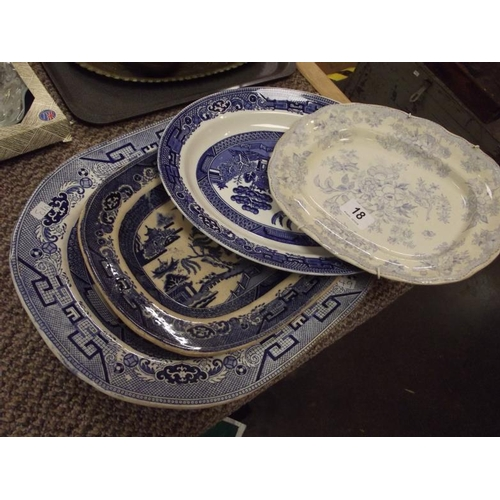 18 - Various 19th Century blue and white meat plates....