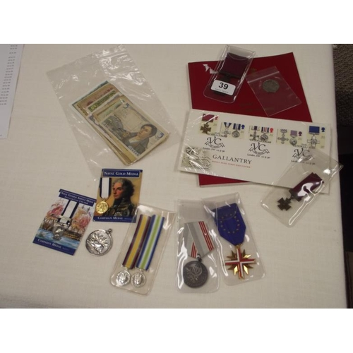 39 - Victoria Cross and miniature copies, with VC First Day Cover, and VC 50 pence 2006, with Spink's 'Gu...