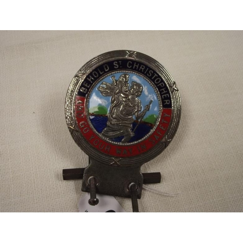 6 - Vintage chrome and enamel car badge - 'Behold St. Christopher And Go Your Way In Safety'....