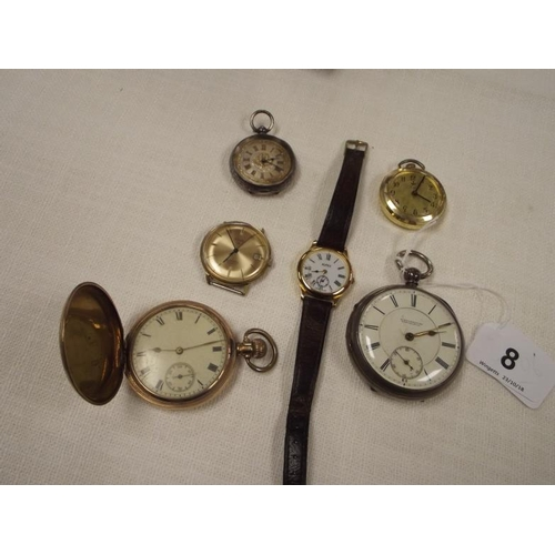 8 - Silver cased pocket watch, Continental fob watch, gold plated full hunter pocket watch, etc....