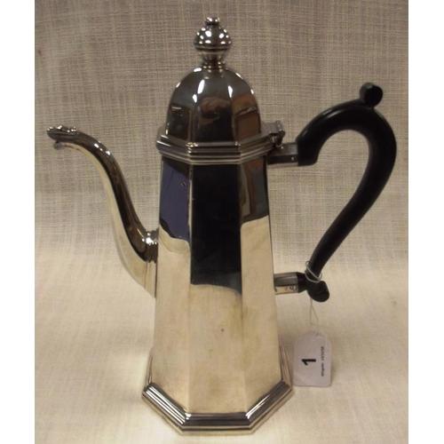 1 - George I style Irish silver coffee pot of tapering octagonal form, Royal Irish Silver Company, Dubli...