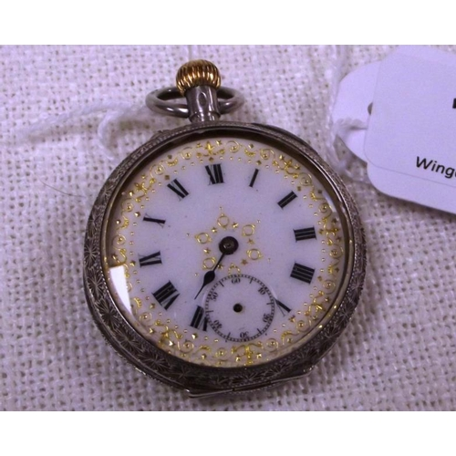 18 - Continental white metal cased fob watch....