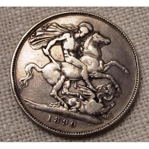 9 - Silver Victorian Crown 1890....