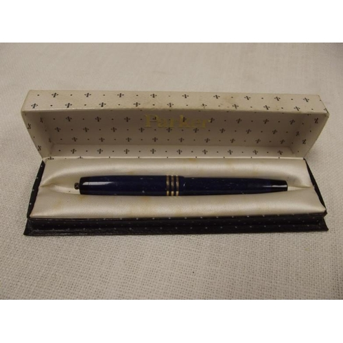 26 - Geo. S. Parker Duofold fountain pen, blue marked body and cap, in box....