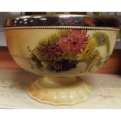 30 - W & R Carlton Ware bowl, blush ivory with hand painted floral decoration and plated rim, 9.5 in. dia...