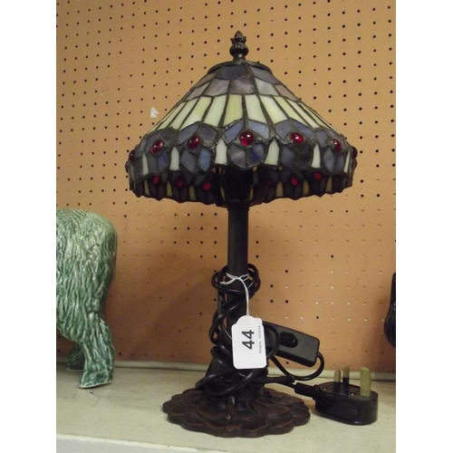 44 - Tiffany style table lamp and shade. See note....