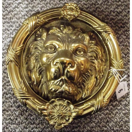 9 - Large circular gilded brass lion mask door knocker, 8.5 in. diameter....