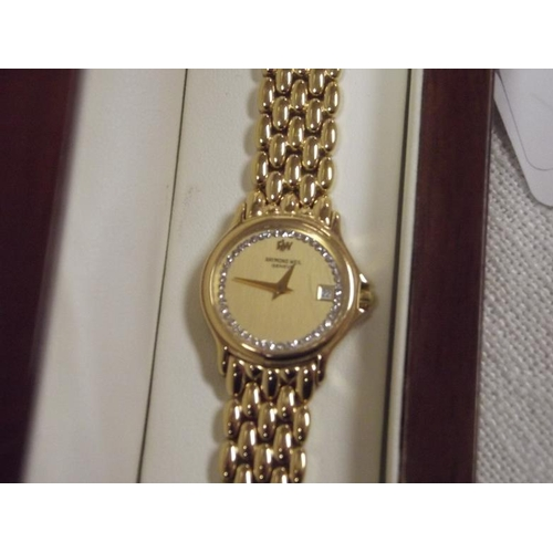 2 - Raymond Weil gold plated ladies wristwatch with gem-set dial, no. 5368, in original box....