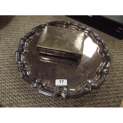 17 - Circular EPNS tray and EPNS cigarette box....