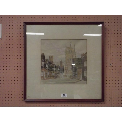 19 - Framed and glazed watercolour - Great Budworth, Cheshire, signed F. Monks....
