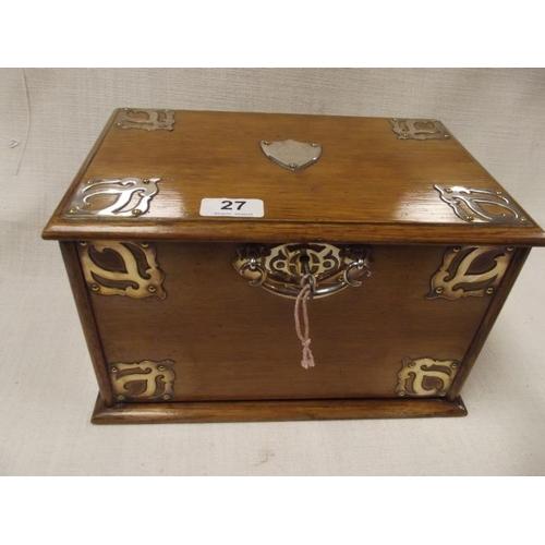 27 - Good Edwardian mahogany stationery box with EPNS mounts and side handles....