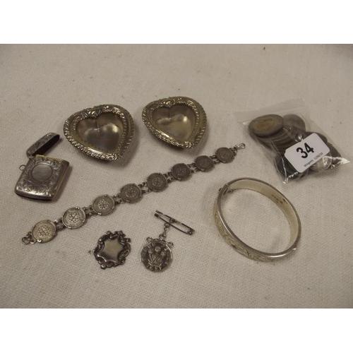 34 - Silver bangle, silver vesta case, various coins, etc....