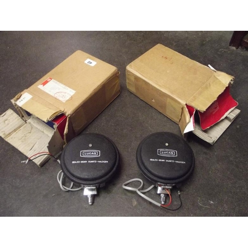 40 - Two Lucas vintage spotlights with covers, boxed as new....