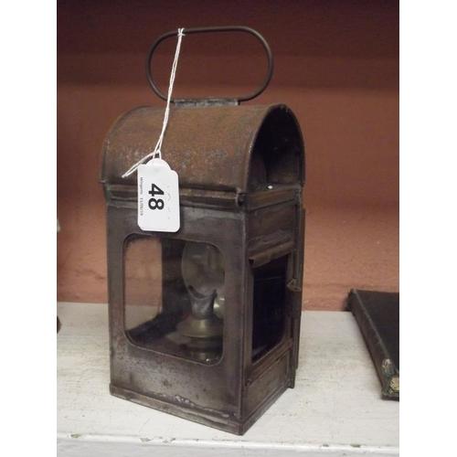 48 - Vintage metal railway lamp....