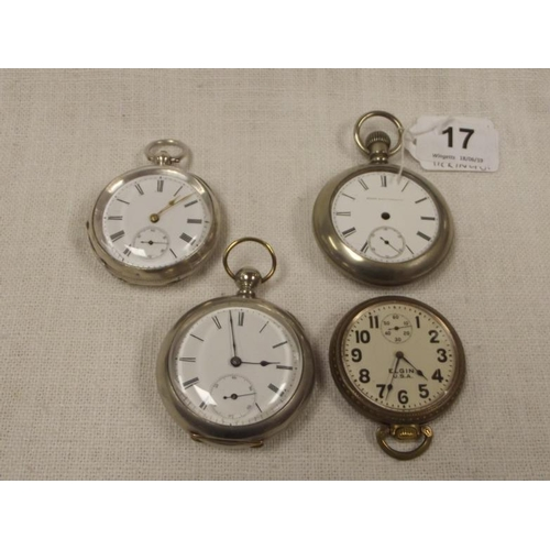17 - Four various pocket watches....