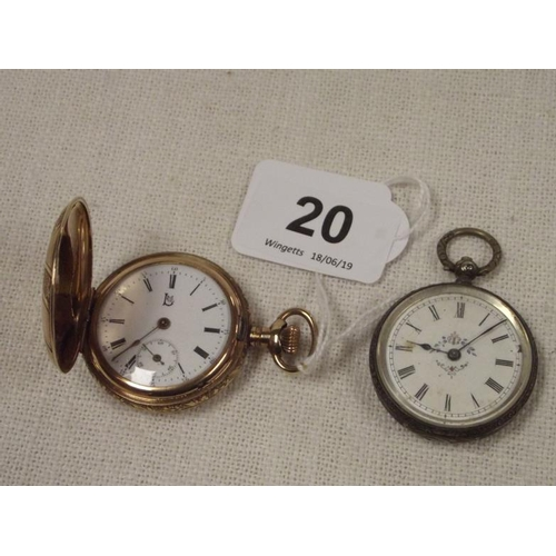 20 - Gold plated hunter pocket watch, and a plated fob watch....