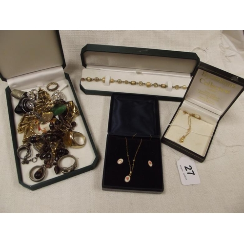 27 - Various costume jewellery, an artificial pearl and bead necklace, and two pendants, one with matchin...