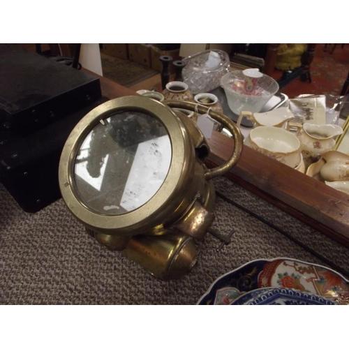 32 - Vintage brass cased spotlight, possibly marine....
