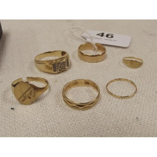 46 - Six various yellow gold rings....