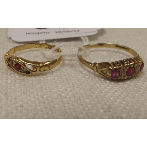 54 - Two 18 ct. yellow gold stone set rings, 3.2 g....