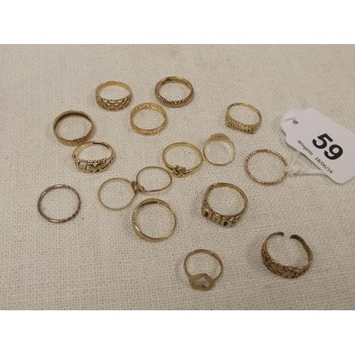 59 - Sixteen various gold/yellow metal rings....