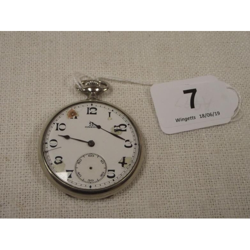 7 - Omega nickel cased pocket watch (faults to dial)....