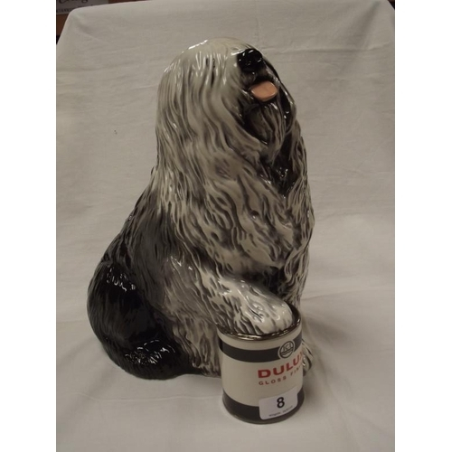 8 - Beswick advertising model of an Old English Sheepdog resting paw on a Dulux paint tin, model no. 199...