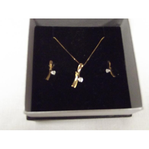 47 - Pair of 9 ct. gold earrings, and necklace....