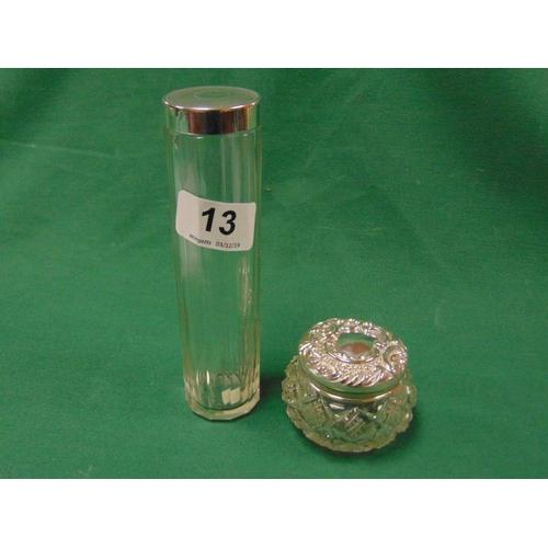 13 - Silver topped cut glass dressing table jar, Birmingham 1900, and a silver lidded glass jar, London 1...