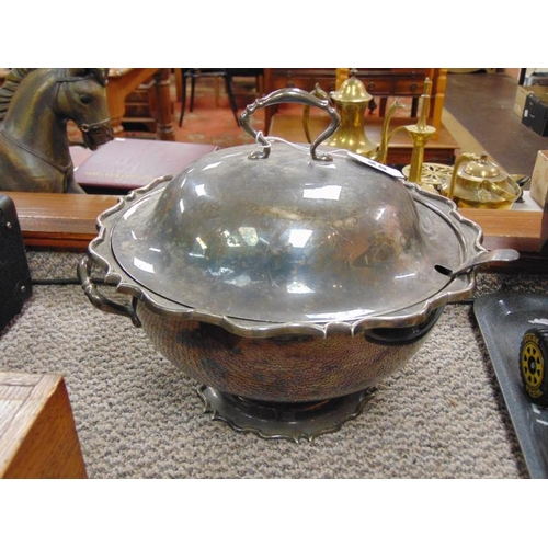 25 - Circular EPNS tureen and cover with ladle....