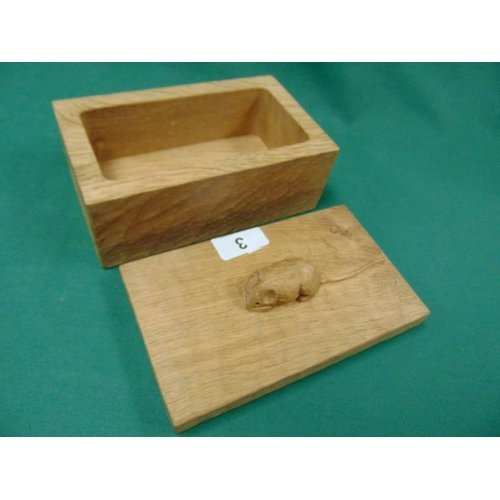 3 - Robert Thompson 'Mouseman' adzed oak rectangular cigarette box, the lid carved with a single mouse, ...