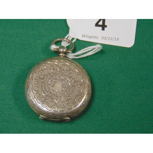 4 - Continental white metal cased fob watch....